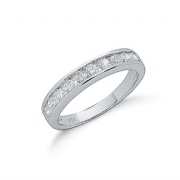 Sterling silver Cubic Zirconia channel set half eternity ring